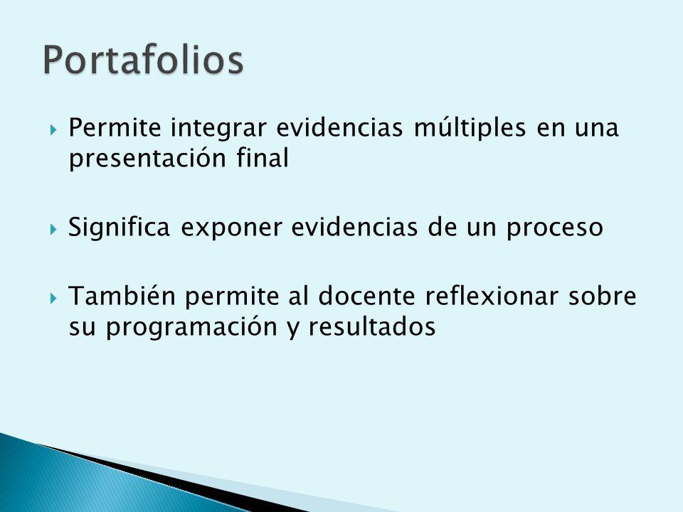 Permite integrar evidencias múltiples en una presentación final Significa exponer evidencias de un proceso También permite al docente reflexionar sobre su programación y resultados