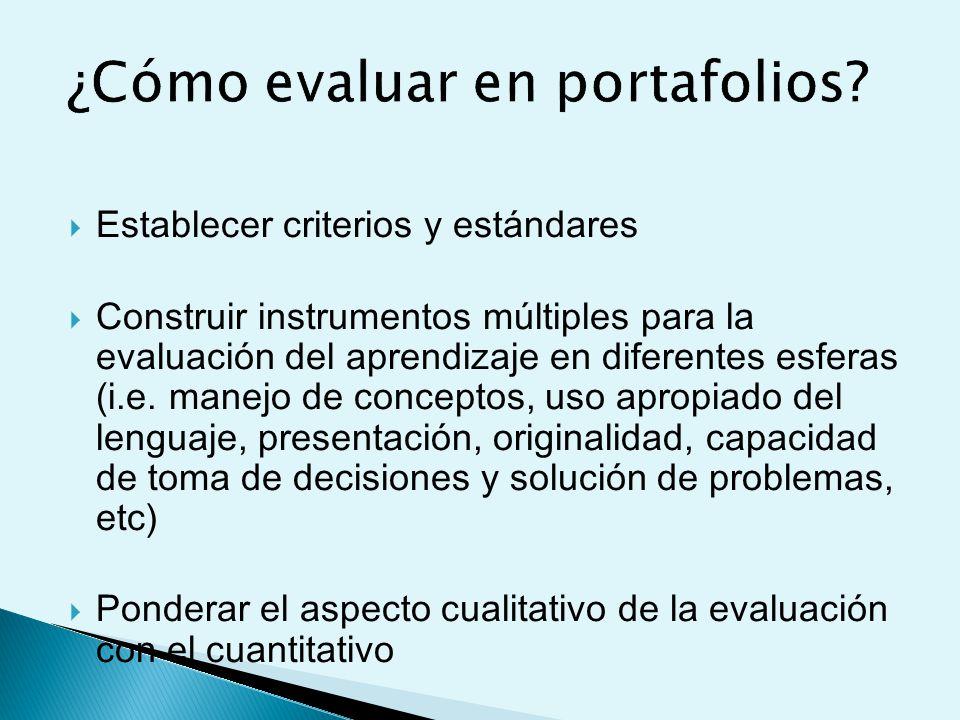 Establecer criterios y estándares Construir instrumentos múltiples para la evaluación del aprendizaje en diferentes esferas (i.e.