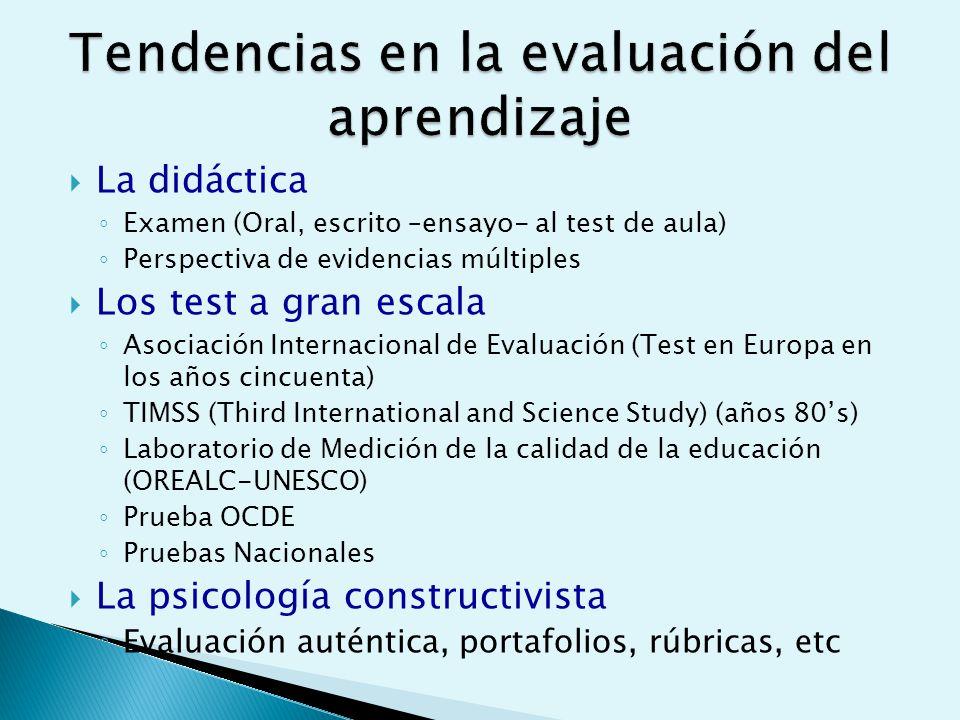 La didáctica Examen (Oral, escrito –ensayo- al test de aula) Perspectiva de evidencias múltiples Los test a gran escala Asociación Internacional de Evaluación (Test en Europa en los años cincuenta) TIMSS (Third International and Science Study) (años 80s) Laboratorio de Medición de la calidad de la educación (OREALC-UNESCO) Prueba OCDE Pruebas Nacionales La psicología constructivista Evaluación auténtica, portafolios, rúbricas, etc