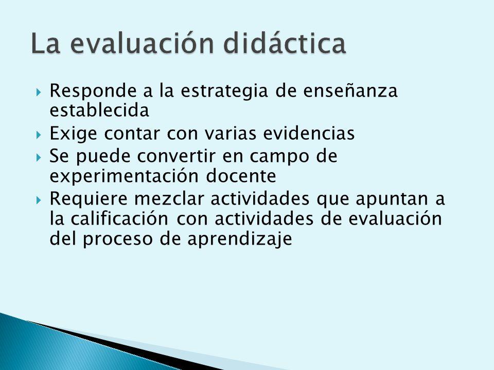 Responde a la estrategia de enseñanza establecida Exige contar con varias evidencias Se puede convertir en campo de experimentación docente Requiere mezclar actividades que apuntan a la calificación con actividades de evaluación del proceso de aprendizaje