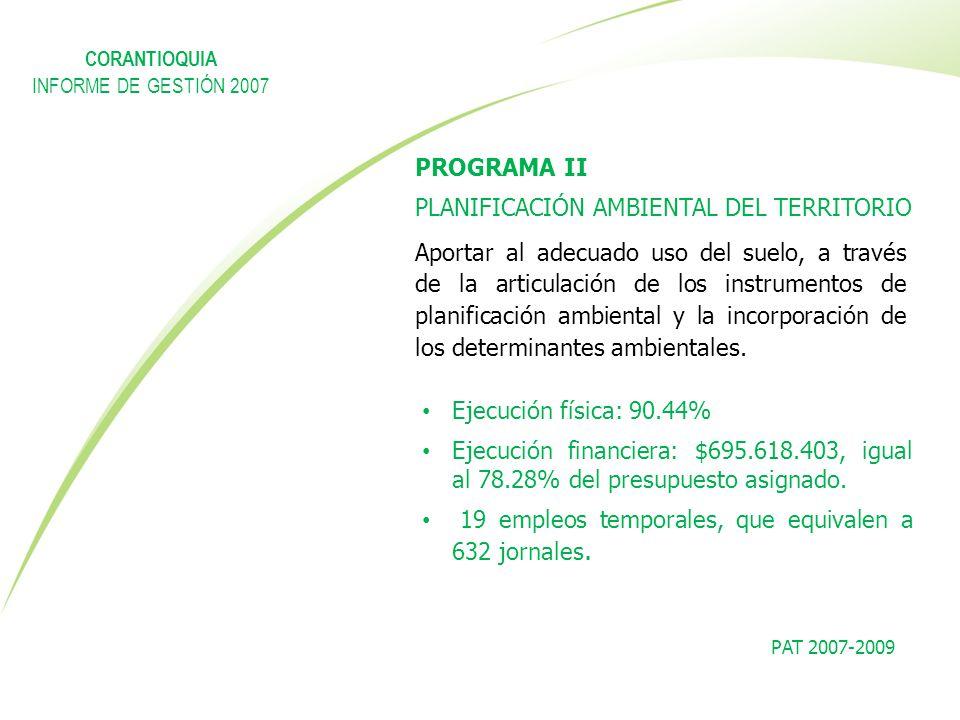 PAT 2007-2009 PROGRAMA II PLANIFICACIÓN AMBIENTAL DEL TERRITORIO Aportar al adecuado uso del suelo, a través de la articulación de los instrumentos de