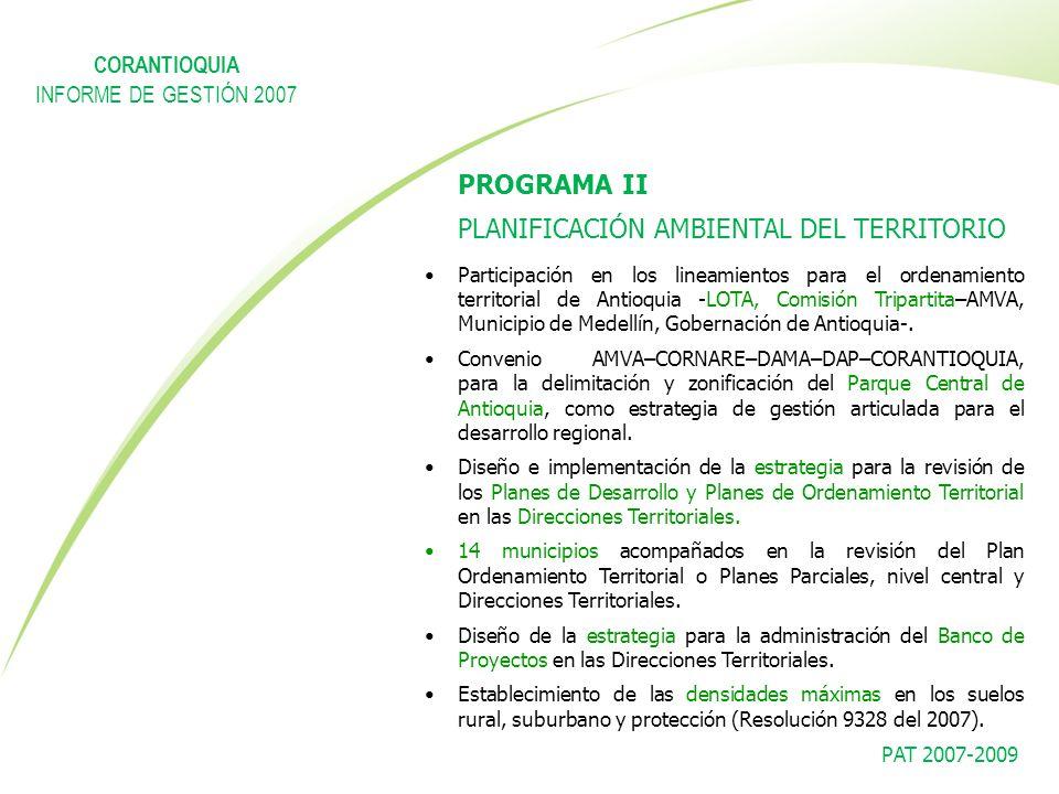 PAT 2007-2009 PROGRAMA II PLANIFICACIÓN AMBIENTAL DEL TERRITORIO Participación en los lineamientos para el ordenamiento territorial de Antioquia -LOTA