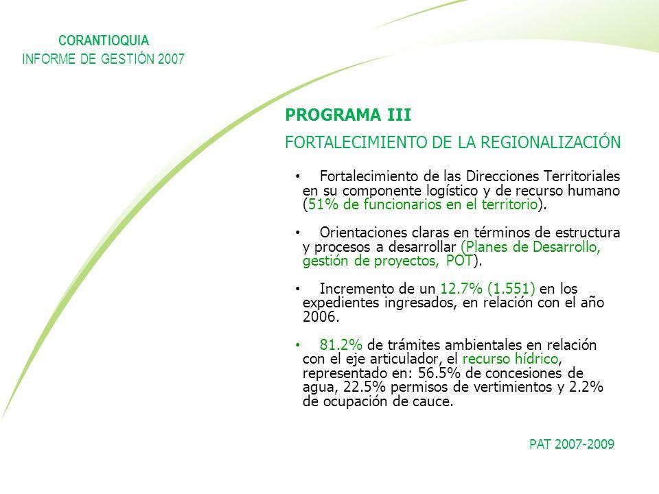 PAT 2007-2009 PROGRAMA III FORTALECIMIENTO DE LA REGIONALIZACIÓN Fortalecimiento de las Direcciones Territoriales en su componente logístico y de recu