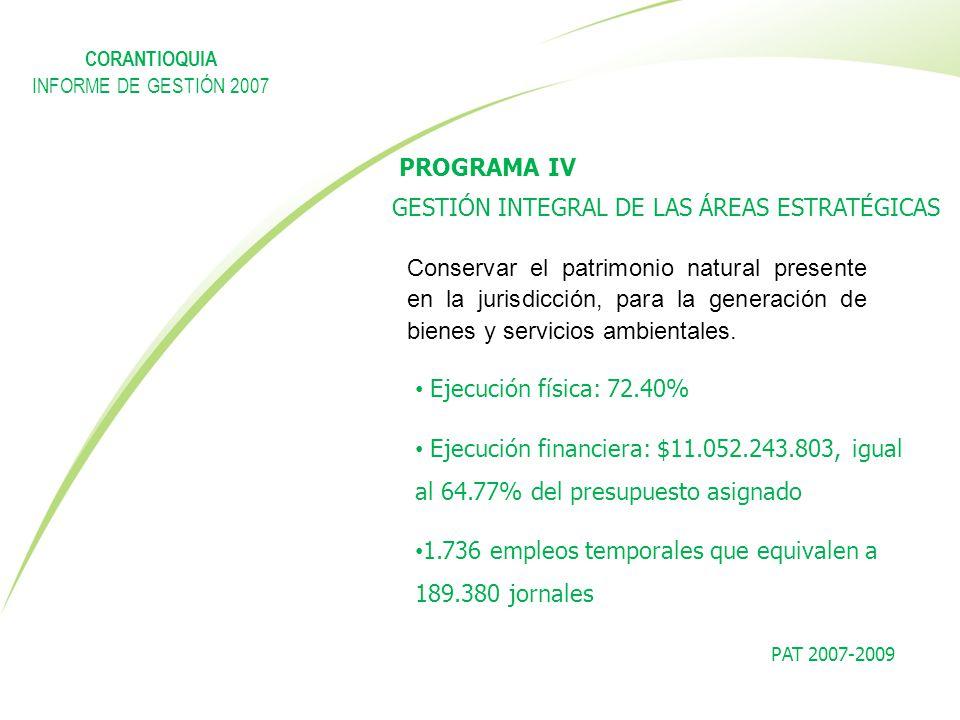 PROGRAMA IV GESTIÓN INTEGRAL DE LAS ÁREAS ESTRATÉGICAS PAT 2007-2009 Conservar el patrimonio natural presente en la jurisdicción, para la generación d