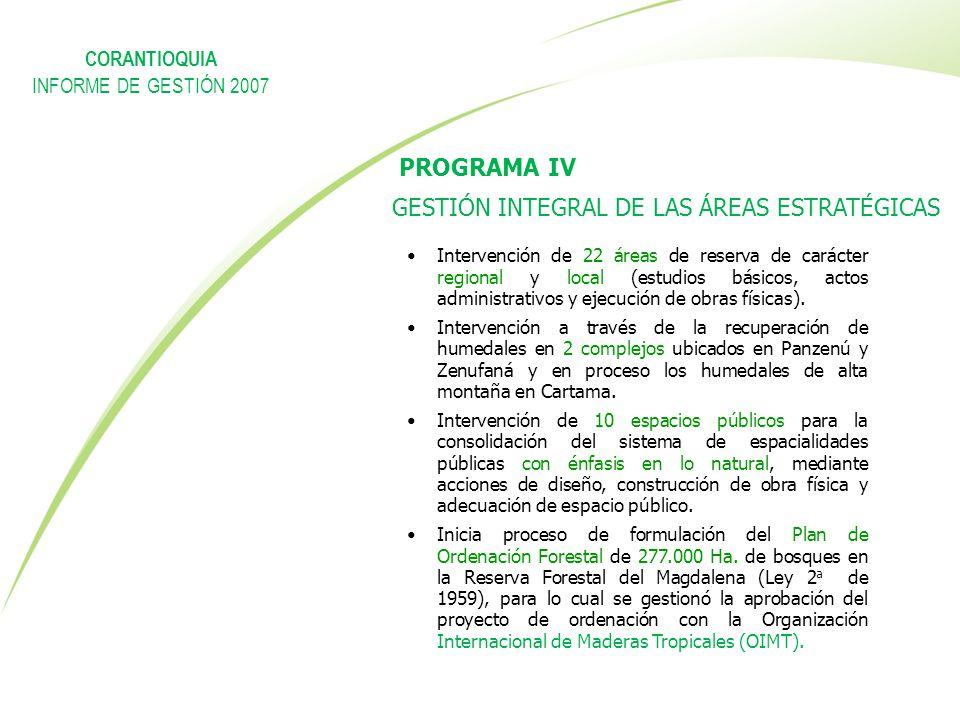 PROGRAMA IV GESTIÓN INTEGRAL DE LAS ÁREAS ESTRATÉGICAS Intervención de 22 áreas de reserva de carácter regional y local (estudios básicos, actos admin