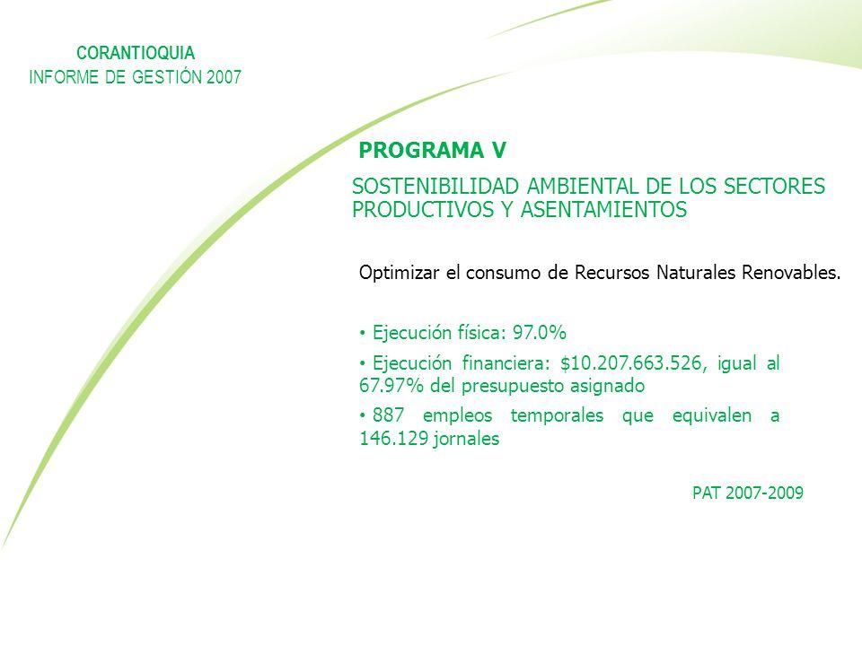 PROGRAMA V SOSTENIBILIDAD AMBIENTAL DE LOS SECTORES PRODUCTIVOS Y ASENTAMIENTOS Ejecución física: 97.0% Ejecución financiera: $10.207.663.526, igual a