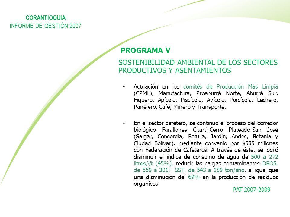 PROGRAMA V SOSTENIBILIDAD AMBIENTAL DE LOS SECTORES PRODUCTIVOS Y ASENTAMIENTOS Actuación en los comités de Producción Más Limpia (CPML), Manufactura,