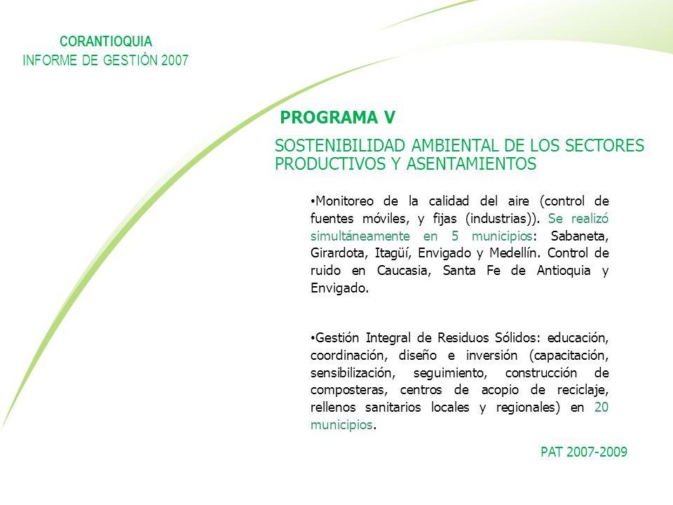 PAT 2007-2009 PROGRAMA V SOSTENIBILIDAD AMBIENTAL DE LOS SECTORES PRODUCTIVOS Y ASENTAMIENTOS Monitoreo de la calidad del aire (control de fuentes móv