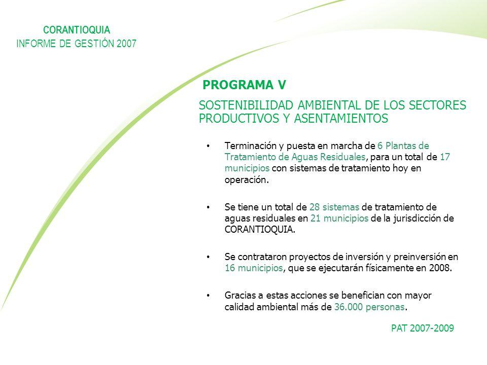 PROGRAMA V SOSTENIBILIDAD AMBIENTAL DE LOS SECTORES PRODUCTIVOS Y ASENTAMIENTOS Terminación y puesta en marcha de 6 Plantas de Tratamiento de Aguas Re