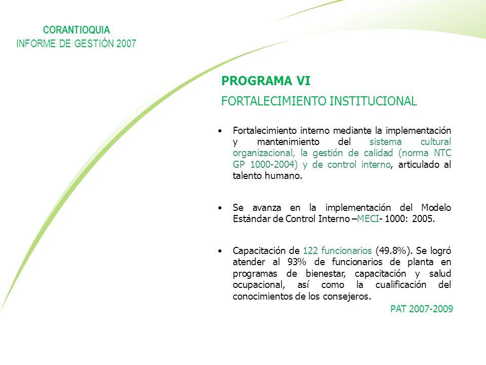 PAT 2007-2009 PROGRAMA VI FORTALECIMIENTO INSTITUCIONAL Fortalecimiento interno mediante la implementación y mantenimiento del sistema cultural organi