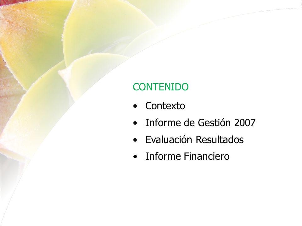 BALANCE GENERAL A 31 DE DICIEMBRE DE 2007 VS 31 DE DICIEMBRE DE 2006 CON SALDOS HOMOLOGADOS A ENERO 01 DE 2007 (Cifras en miles de pesos) Período Actual Período Anterior CódigoACTIVO31-12-0731-12-06 CORRIENTE 63.136.538 57.066.207 11Efectivo (3) 9.095.893 3.478.283 12Inversiones (4) 29.185.750 29.141.708 14Deudores (5) 24.699.346 24.343.417 19Otros activos (7) 155.549 102.799 NO CORRIENTE 15.466.310 15.793.617 16Propiedades, planta y equipo (6) 14.146.540 14.331.290 19Otros activos (7) 1.319.770 1.462.327 TOTAL ACTIVO 78.602.848 72.859.824 CUENTAS DE ORDEN DEUDORAS (10) 81Derechos contingentes 2.308.106 3.129.014 83Deudoras de control 8.027.493 15.322.204 89Deudoras por contra (cr)- 10.335.599- 18.451.218 PASIVO CORRIENTE (8) 7.839.635 2.022.301 24Cuentas por pagar 6.259.708 903.803 25Obligaciones Lab y de seguridad social integral 457.005 399.672 27Pasivos estimados 842.367 718.826 29Otros Pasivos 280.555 - TOTAL PASIVO 7.839.635 2.022.301 PATRIMONIO (9) 70.763.213 70.837.523 32Patrimonio institucional (9) 70.763.213 70.837.523 TOTAL PASIVO Y PATRIMONIO 78.602.848 72.859.824 CUENTAS DE ORDEN ACREEDORAS (10) 91Responsabilidades contingentes 28.151.345 19.004.858 93Acreedoras de control 20.891.753 15.142.443 99Acreedoras por contra (db)- 49.043.098- 34.147.301 INFORME FINANCIERO