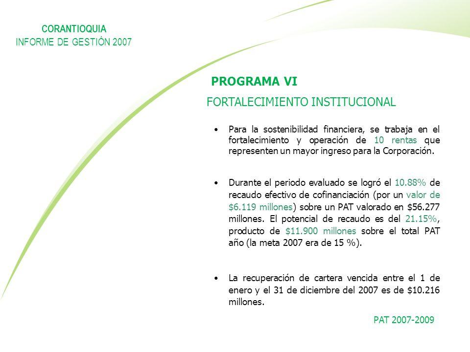 PAT 2007-2009 PROGRAMA VI FORTALECIMIENTO INSTITUCIONAL Para la sostenibilidad financiera, se trabaja en el fortalecimiento y operación de 10 rentas q