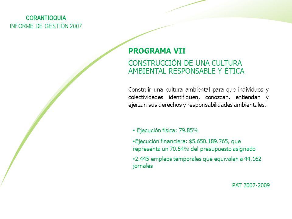 PROGRAMA VII CONSTRUCCIÓN DE UNA CULTURA AMBIENTAL RESPONSABLE Y ÉTICA Construir una cultura ambiental para que individuos y colectividades identifiqu