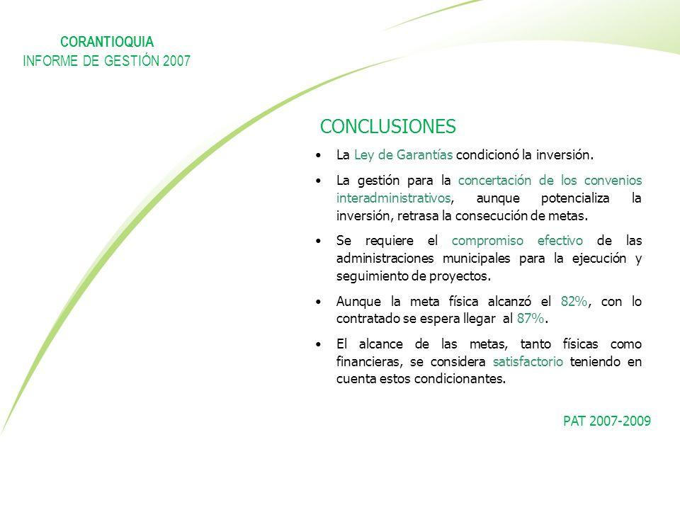 La Ley de Garantías condicionó la inversión. La gestión para la concertación de los convenios interadministrativos, aunque potencializa la inversión,