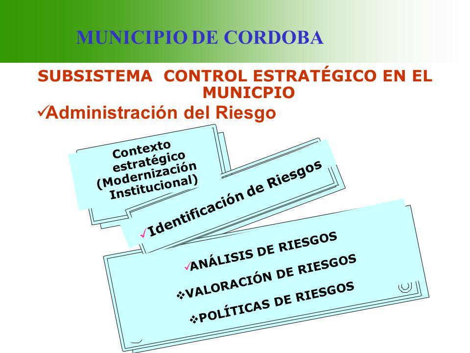 MUNICIPIO DE CORDOBA SUBSISTEMA CONTROL ESTRATÉGICO EN EL MUNICPIO Administración del Riesgo Contexto estratégico (Modernización Institucional) Identi