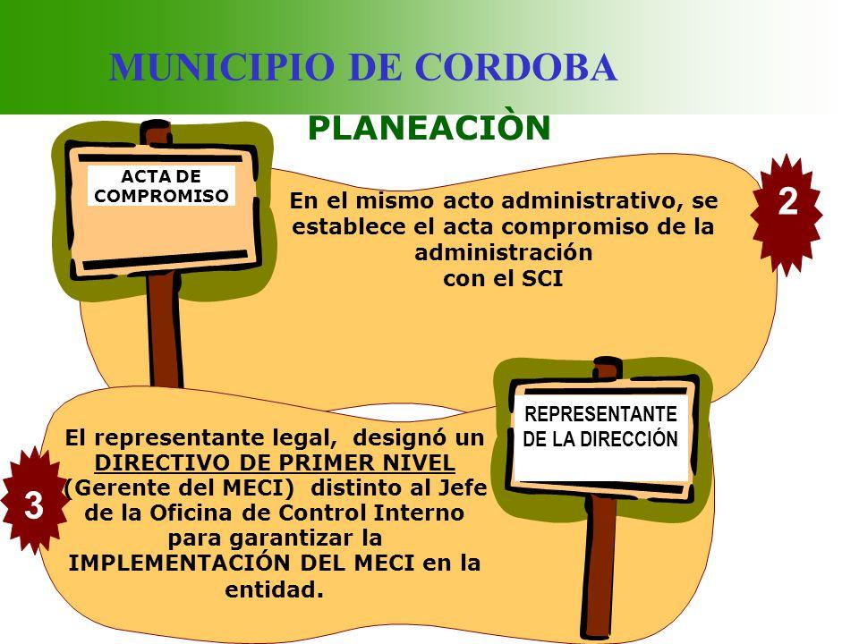 MUNICIPIO DE CORDOBA PLANEACIÒN ACTA DE COMPROMISO ACTA DE COMPROMISO En el mismo acto administrativo, se establece el acta compromiso de la administr