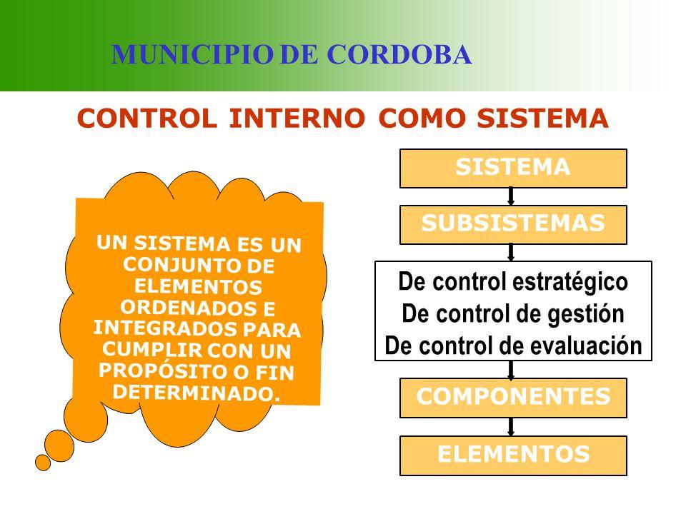MUNICIPIO DE CORDOBA SUBSISTEMA DE CONTROL ESTRATEGICO PERMITE EL CUMPLIMIENTO DE LA ORIENTACIÓN ESTRATÉGICA Y ORGANIZACIONAL DE LA ENTIDAD.
