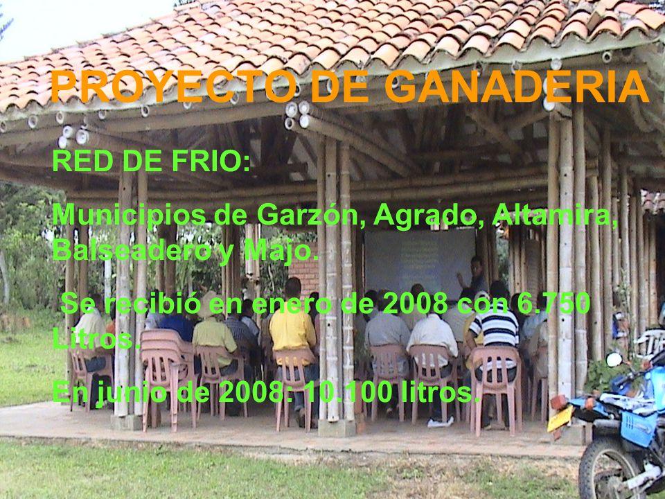 PROYECTO DE GANADERIA RED DE FRIO: Municipios de Garzón, Agrado, Altamira, Balseadero y Majo.