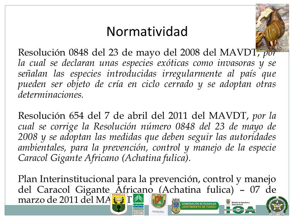 Normatividad Resolución 0848 del 23 de mayo del 2008 del MAVDT, por la cual se declaran unas especies exóticas como invasoras y se señalan las especie