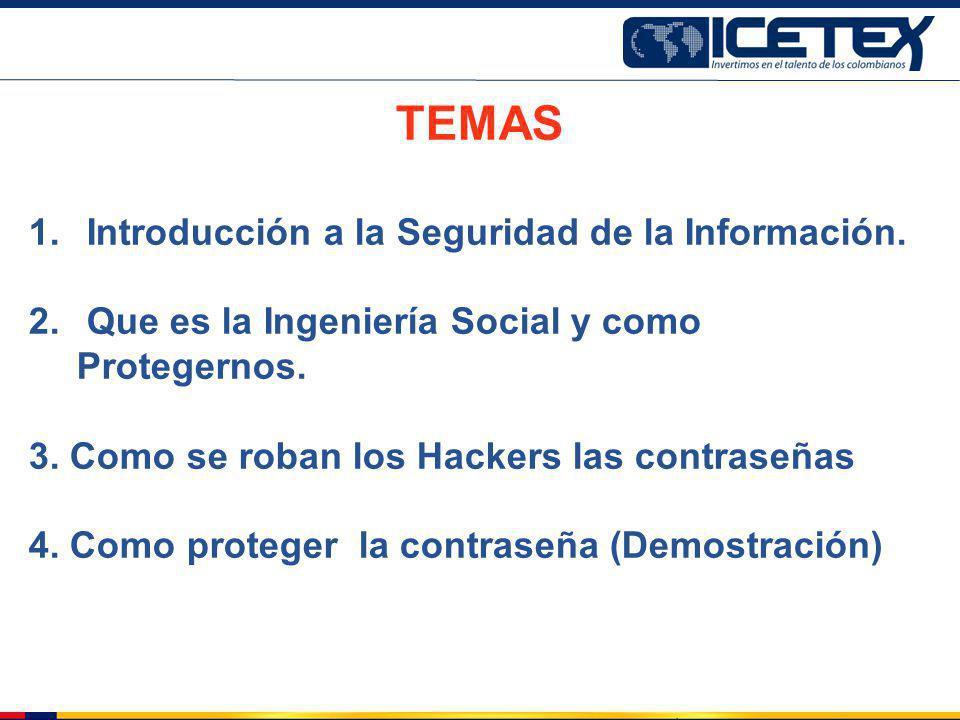 TEMAS 1. Introducción a la Seguridad de la Información. 2. Que es la Ingeniería Social y como Protegernos. 3. Como se roban los Hackers las contraseña