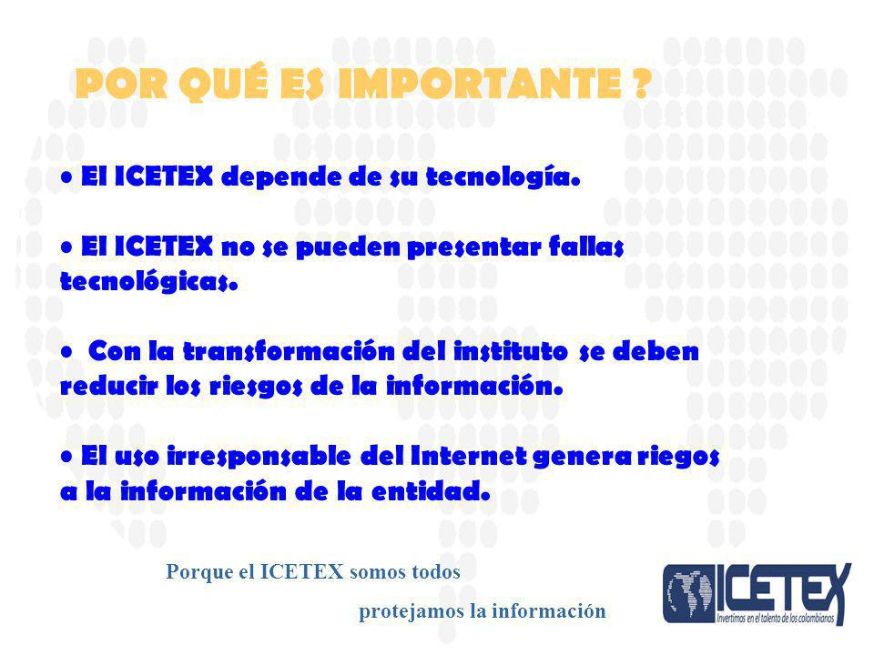 El ICETEX depende de su tecnología. El ICETEX no se pueden presentar fallas tecnológicas. Con la transformación del instituto se deben reducir los rie