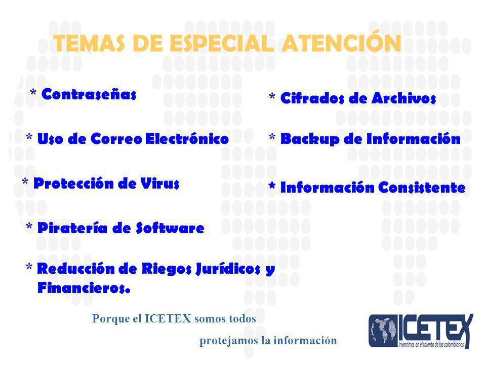 Porque el ICETEX somos todos protejamos la información * Contraseñas * Uso de Correo Electrónico * Protección de Virus * Piratería de Software * Cifra