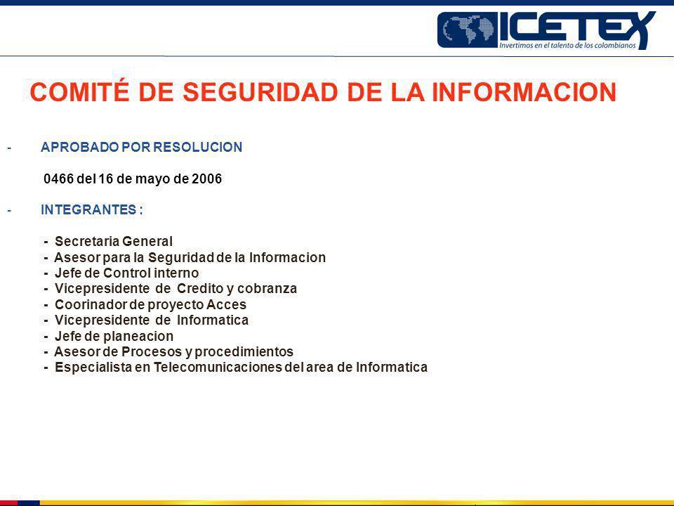 COMITÉ DE SEGURIDAD DE LA INFORMACION -APROBADO POR RESOLUCION 0466 del 16 de mayo de 2006 -INTEGRANTES : - Secretaria General - Asesor para la Seguri