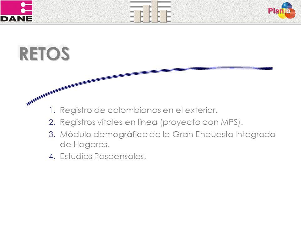 RETOSRETOS 1.Registro de colombianos en el exterior. 2.Registros vitales en línea (proyecto con MPS). 3.Módulo demográfico de la Gran Encuesta Integra