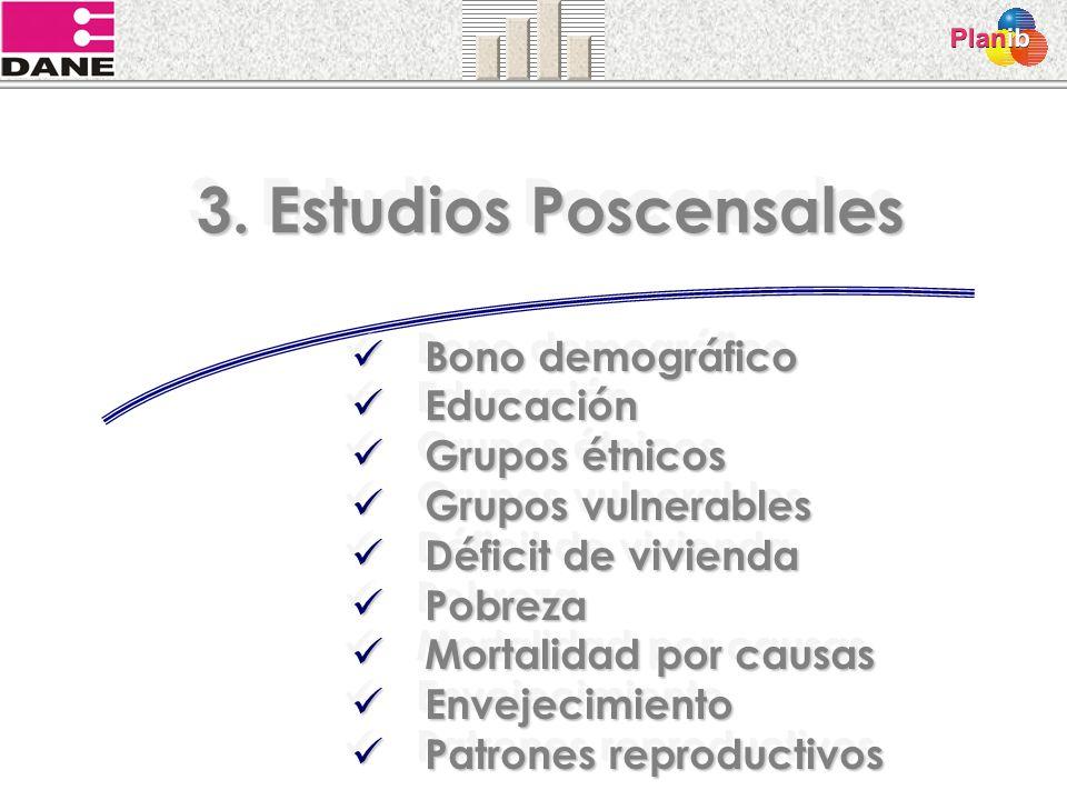 3. Estudios Poscensales Bono demográfico Bono demográfico Educación Educación Grupos étnicos Grupos étnicos Grupos vulnerables Grupos vulnerables Défi