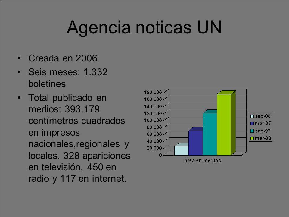 Agencia noticas UN Creada en 2006 Seis meses: 1.332 boletines Total publicado en medios: 393.179 centímetros cuadrados en impresos nacionales,regionales y locales.