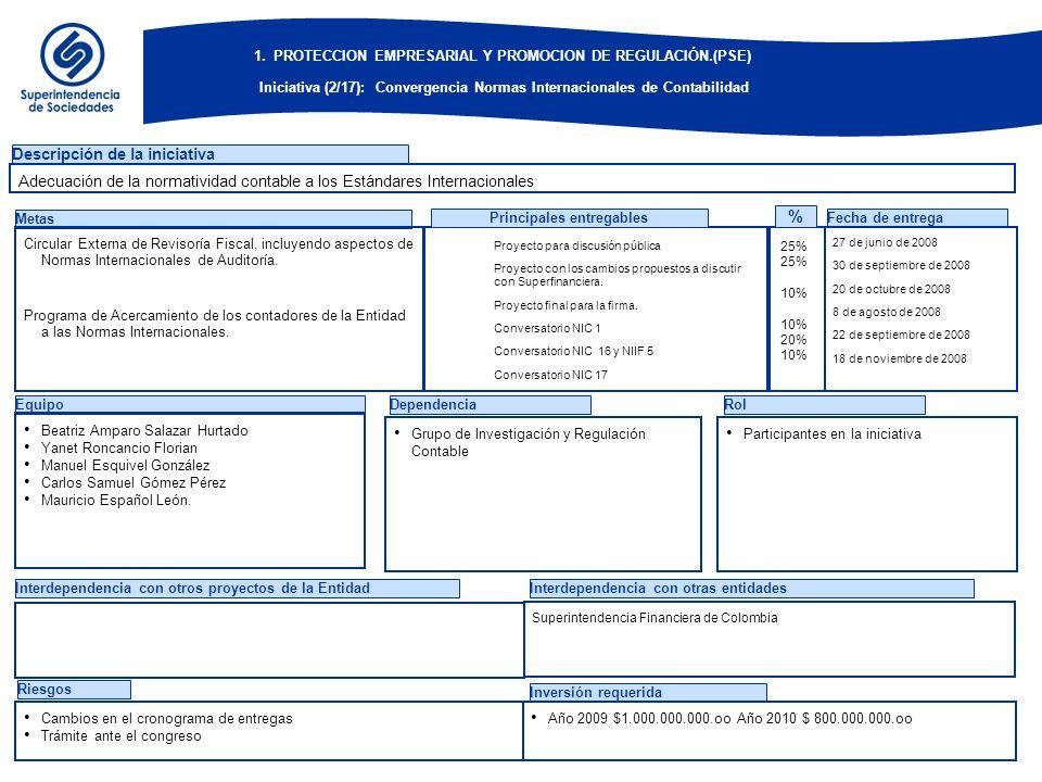 EquipoDependenciaRol Descripción de la iniciativa Metas Circular Externa de Revisoría Fiscal, incluyendo aspectos de Normas Internacionales de Auditor