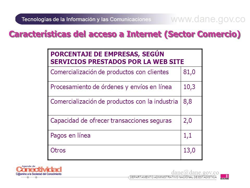 www.dane.gov.co Tecnologías de la Información y las Comunicaciones dane@dane.gov.co DEPARTAMENTO ADMINISTRATIVO NACIONAL DE ESTADÍSTICA Características del acceso a Internet (Sector Comercio) PORCENTAJE DE EMPRESAS, SEGÚN SERVICIOS PRESTADOS POR LA WEB SITE Comercialización de productos con clientes81,0 Procesamiento de órdenes y envíos en línea10,3 Comercialización de productos con la industria8,8 Capacidad de ofrecer transacciones seguras2,0 Pagos en línea1,1 Otros13,0