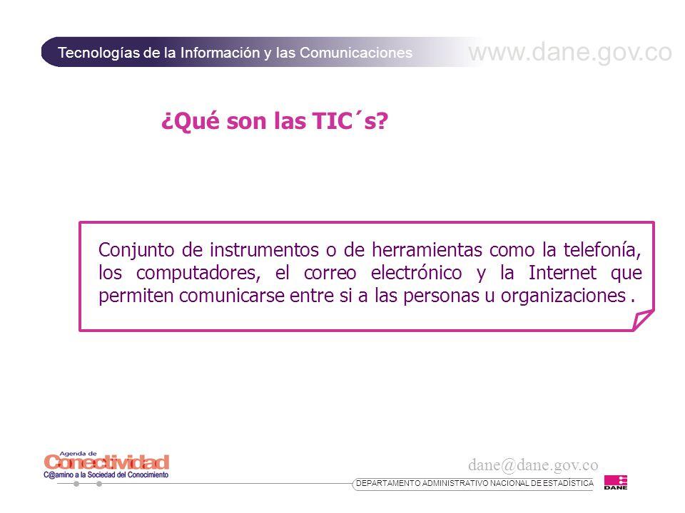 www.dane.gov.co Tecnologías de la Información y las Comunicaciones dane@dane.gov.co DEPARTAMENTO ADMINISTRATIVO NACIONAL DE ESTADÍSTICA Infraestructura de conexión a Internet (Sector Microestablecimientos ) PORCENTAJE DE MICROESTABLECIMIENTOS, SEGÚN TIPO DE CONEXIÓN Conmutado(por línea telefónica)97,1 Cable3,0 Conmutado RDSI0,7 Fibra óptica0,9 Satelital0,5 Inalámbrica0,5 Cable3,0