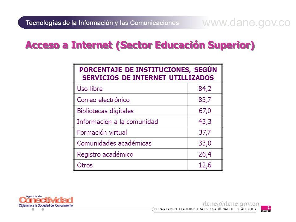 www.dane.gov.co Tecnologías de la Información y las Comunicaciones dane@dane.gov.co DEPARTAMENTO ADMINISTRATIVO NACIONAL DE ESTADÍSTICA Acceso a Internet (Sector Educación Superior) PORCENTAJE DE INSTITUCIONES, SEGÚN SERVICIOS DE INTERNET UTILLIZADOS Uso libre84,2 Correo electrónico83,7 Bibliotecas digitales67,0 Información a la comunidad43,3 Formación virtual37,7 Comunidades académicas33,0 Registro académico26,4 Otros12,6