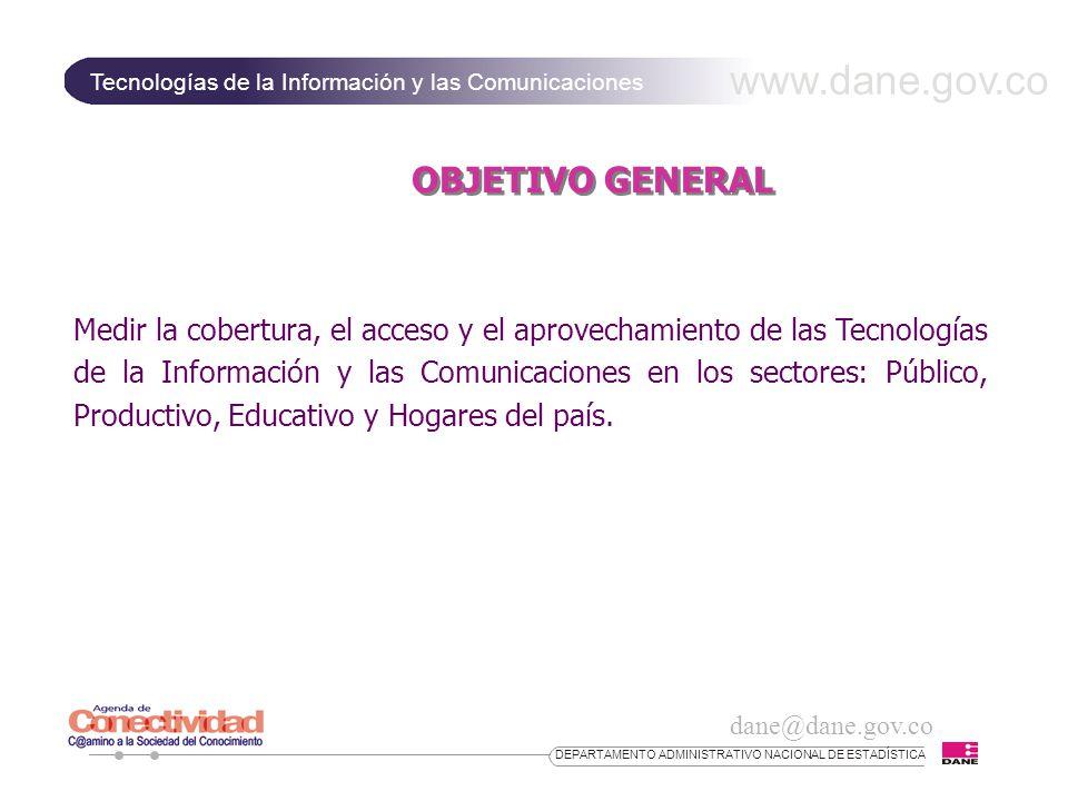www.dane.gov.co Tecnologías de la Información y las Comunicaciones dane@dane.gov.co DEPARTAMENTO ADMINISTRATIVO NACIONAL DE ESTADÍSTICA PRINCIPALES RESULTADOS Sector Servicios INDICADOR OPERATIVO% Empresas con equipos de cómputo23,1 Empresa con servicios de telefonía móvil61,8 Personas vinculadas a las TIC8,6 Persona que recibieron capacitación en TIC3,0 Sistema operativo mas utilizado: windows 95/98 66,4 Equipos conectados según tipo de arquitectura: LAN 41,5 Empresas con WEB SITE14,0 Computadores en uso con acceso a Internet 36,63