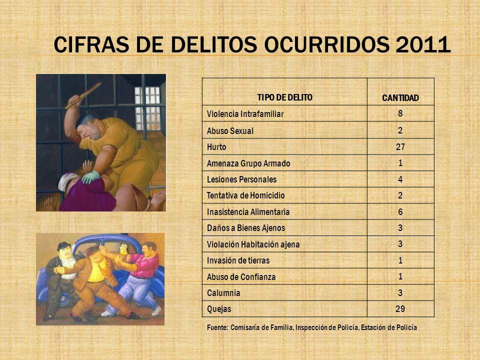 CIFRAS DE DELITOS OCURRIDOS 2011 TIPO DE DELITO CANTIDAD Violencia Intrafamiliar 8 Abuso Sexual 2 Hurto 27 Amenaza Grupo Armado 1 Lesiones Personales