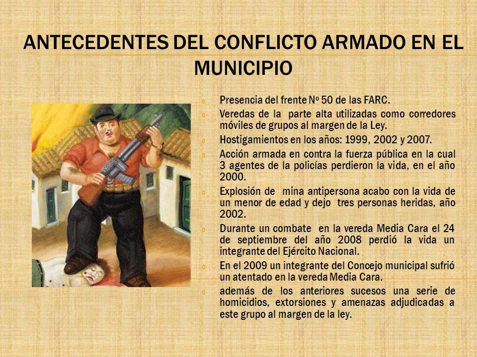 ANTECEDENTES DEL CONFLICTO ARMADO EN EL MUNICIPIO o Presencia del frente Nº 50 de las FARC. o Veredas de la parte alta utilizadas como corredores móvi