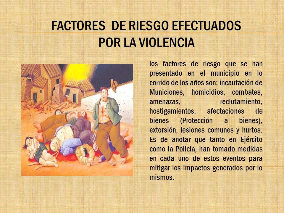 FACTORES DE RIESGO EFECTUADOS POR LA VIOLENCIA los factores de riesgo que se han presentado en el municipio en lo corrido de los años son: incautación