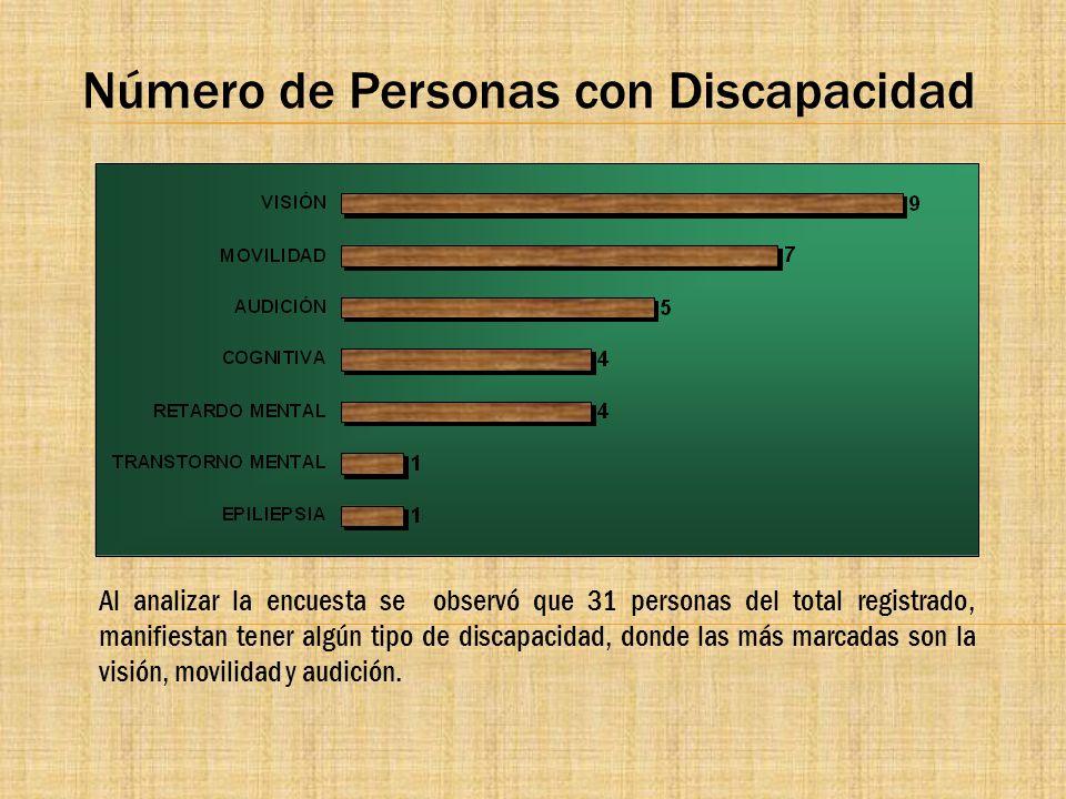 Número de Personas con Discapacidad Al analizar la encuesta se observó que 31 personas del total registrado, manifiestan tener algún tipo de discapaci
