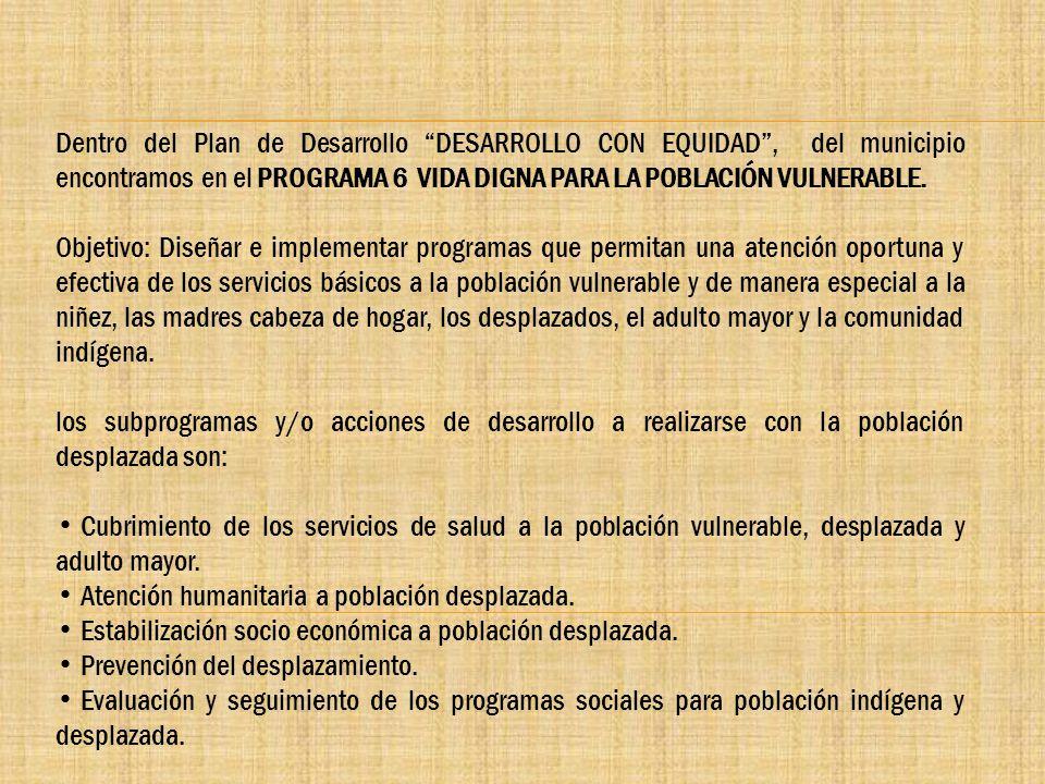 Dentro del Plan de Desarrollo DESARROLLO CON EQUIDAD, del municipio encontramos en el PROGRAMA 6 VIDA DIGNA PARA LA POBLACIÓN VULNERABLE. Objetivo: Di