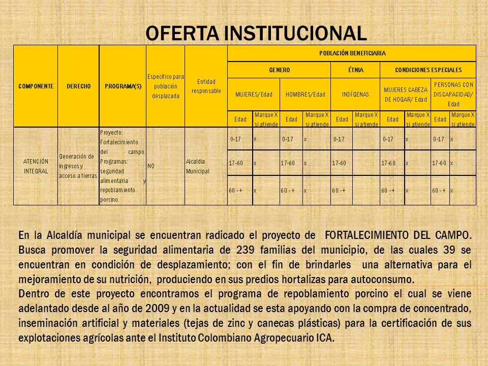 OFERTA INSTITUCIONAL En la Alcaldía municipal se encuentran radicado el proyecto de FORTALECIMIENTO DEL CAMPO. Busca promover la seguridad alimentaria