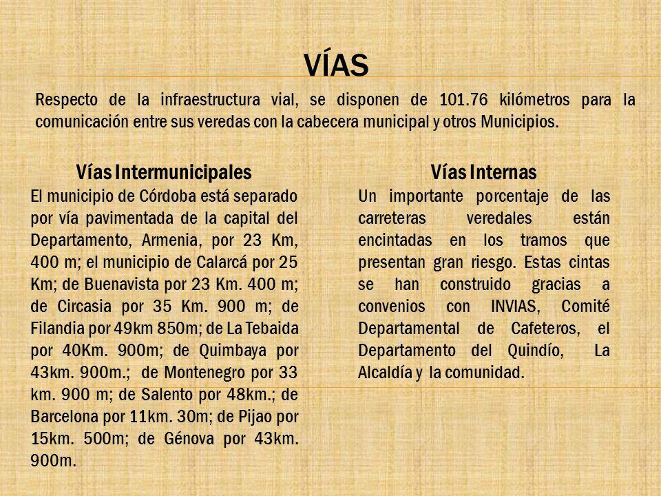 VÍAS Respecto de la infraestructura vial, se disponen de 101.76 kilómetros para la comunicación entre sus veredas con la cabecera municipal y otros Mu