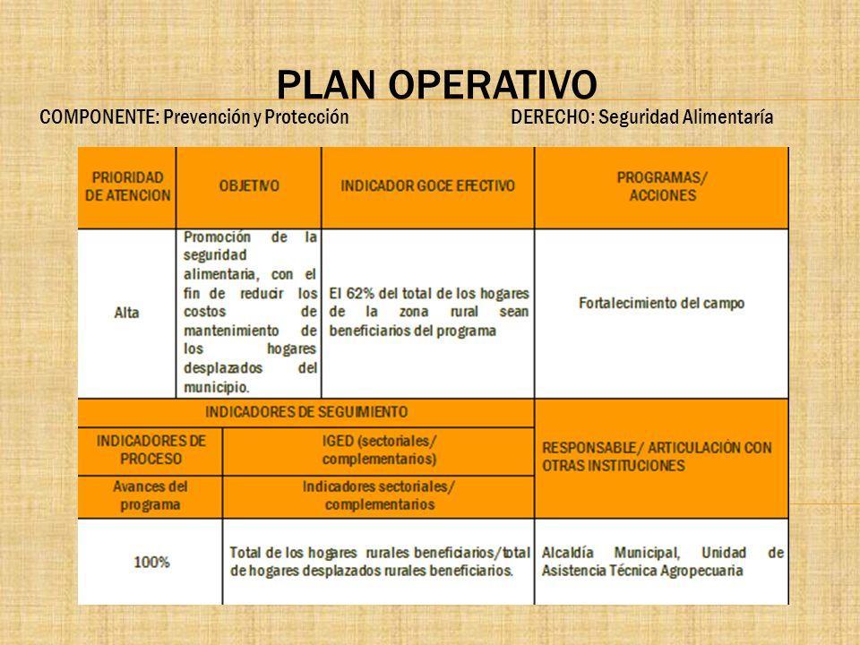 PLAN OPERATIVO COMPONENTE: Prevención y Protección DERECHO: Seguridad Alimentaría