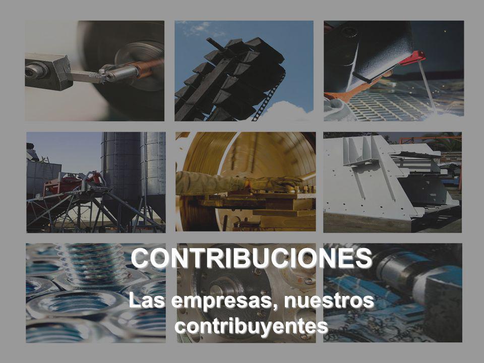 CONTRIBUCIONES LAS EMPRESAS, NUESTROS CONTRIBUYENTES CONTRIBUCIONES Las empresas, nuestros contribuyentes