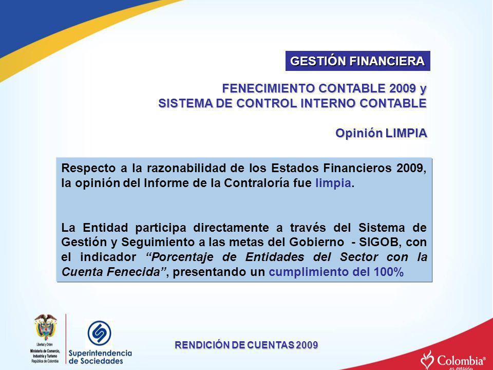 RENDICIÓN DE CUENTAS 2009 FENECIMIENTO CONTABLE 2009 y SISTEMA DE CONTROL INTERNO CONTABLE Opinión LIMPIA Respecto a la razonabilidad de los Estados F