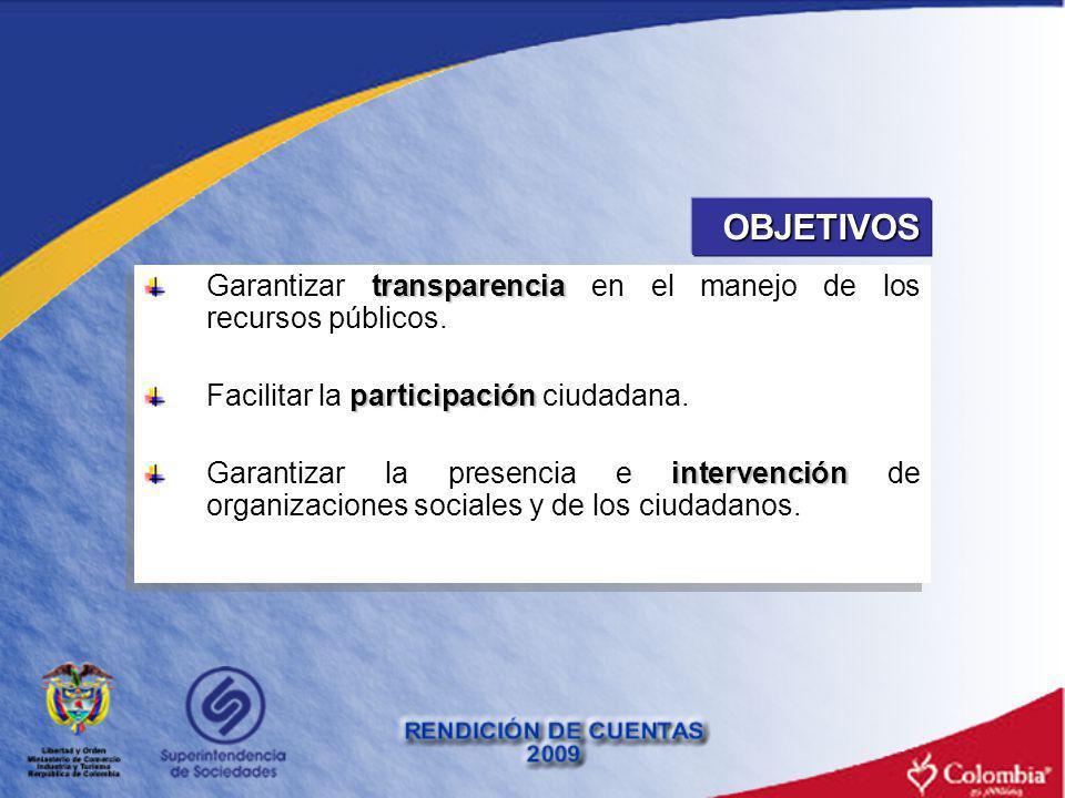 OBJETIVOS transparencia Garantizar transparencia en el manejo de los recursos públicos. participación Facilitar la participación ciudadana. intervenci