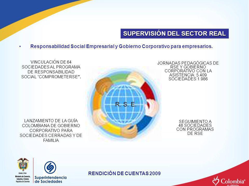Responsabilidad Social Empresarial y Gobierno Corporativo para empresarios. RENDICIÓN DE CUENTAS 2009 SUPERVISIÓN DEL SECTOR REAL LANZAMIENTO DE LA GU