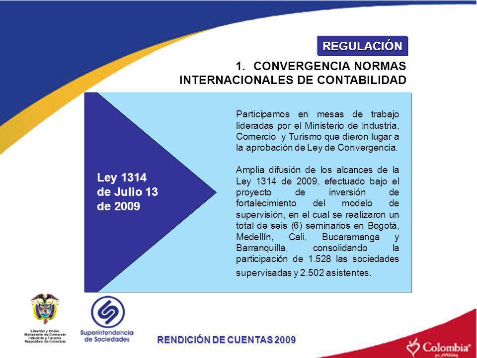 1.CONVERGENCIA NORMAS INTERNACIONALES DE CONTABILIDAD Participamos en mesas de trabajo lideradas por el Ministerio de Industria, Comercio y Turismo qu
