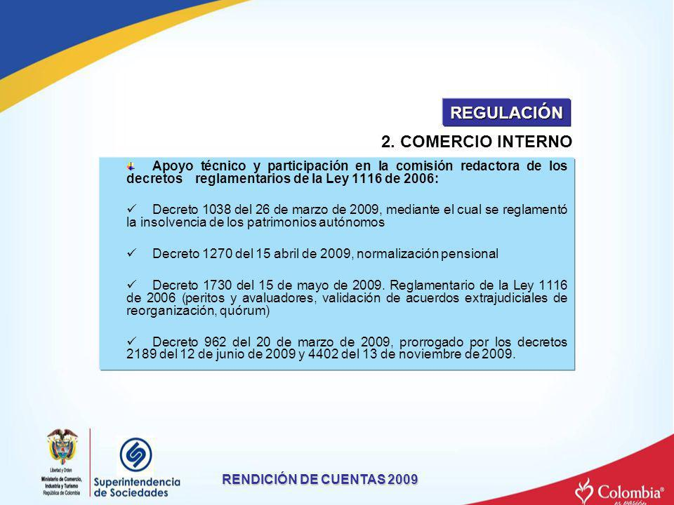 Apoyo técnico y participación en la comisión redactora de los decretos reglamentarios de la Ley 1116 de 2006: Decreto 1038 del 26 de marzo de 2009, me