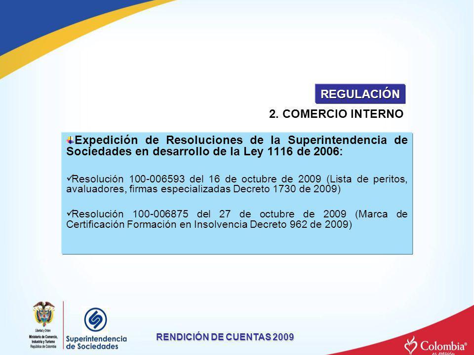 Expedición de Resoluciones de la Superintendencia de Sociedades en desarrollo de la Ley 1116 de 2006: Resolución 100-006593 del 16 de octubre de 2009